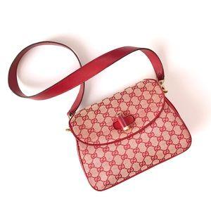 Vintage Gucci Red Mini Monogram Leather Purse Bag